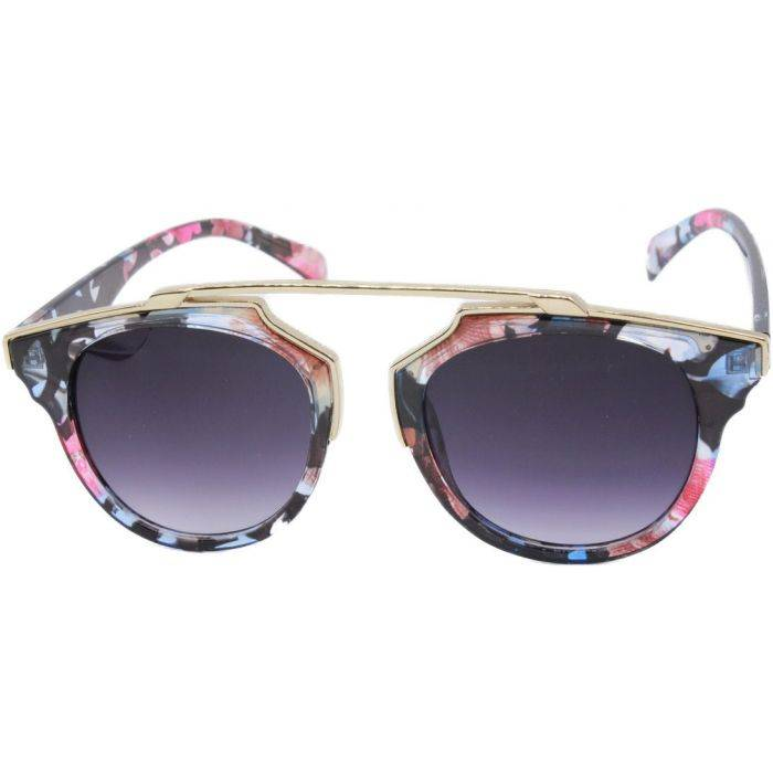 Patterned Clubmaster Sunglasses