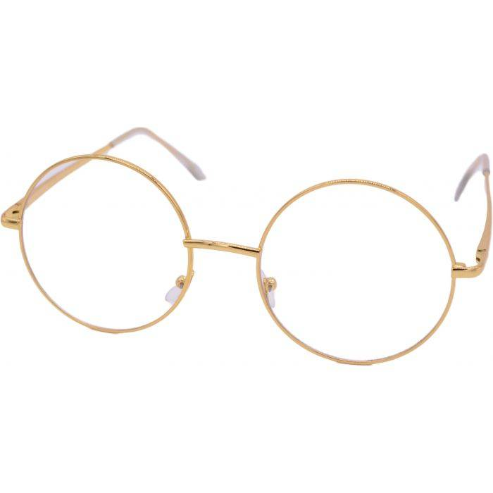 Clear Gold Round Sunglasses