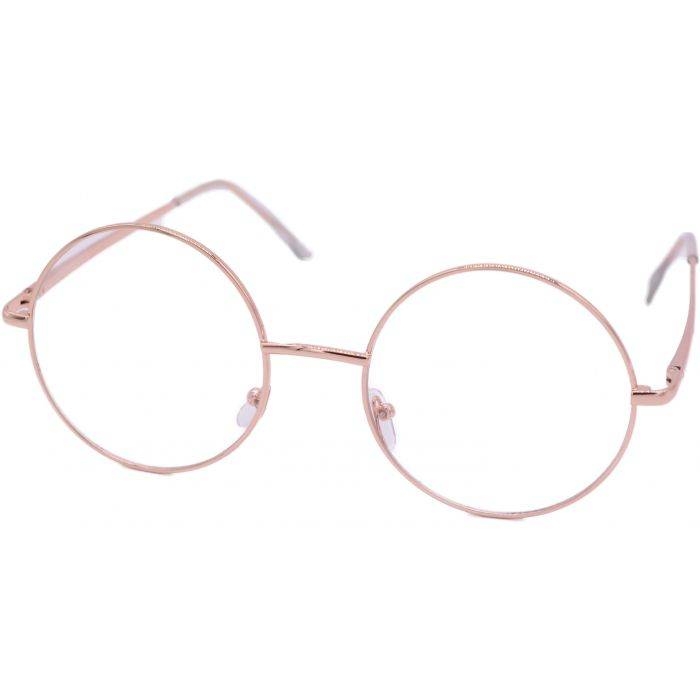 Clear Rose Gold Round Sunglasses