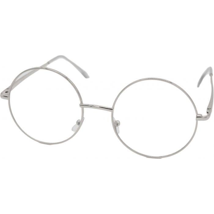Clear Silver Round Sunglasses