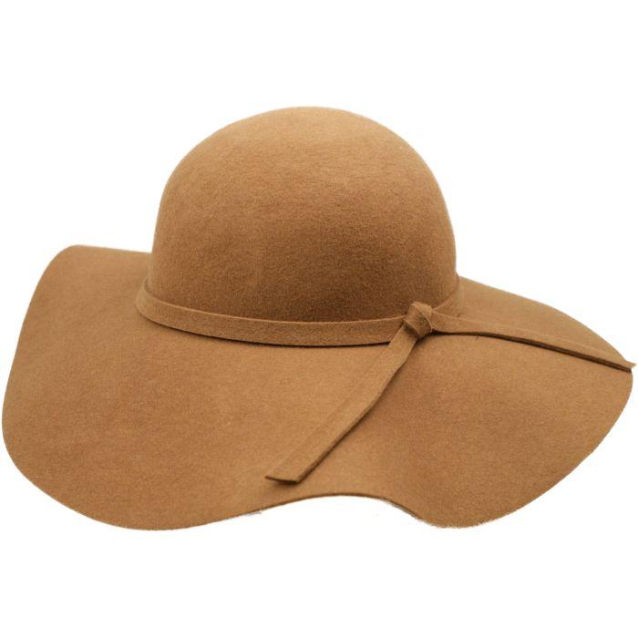 Wide Brim Womens Wool Felt Cloche Hat - Beige