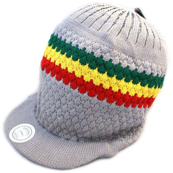 Pan African Large Knitted Peaked Rasta Hat - Light Grey