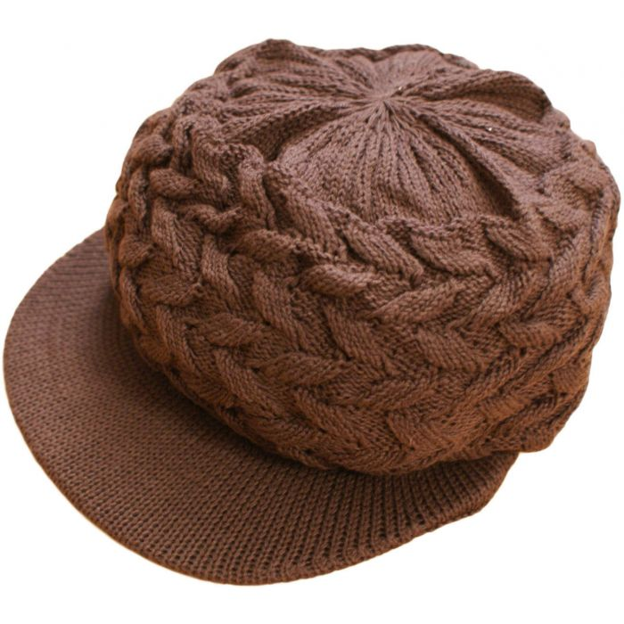 Small Knitted Peaked Rasta Hat - Brown