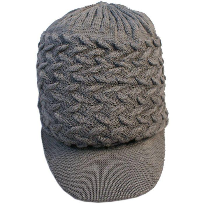 Large Knitted Peaked Rasta Hat - Grey