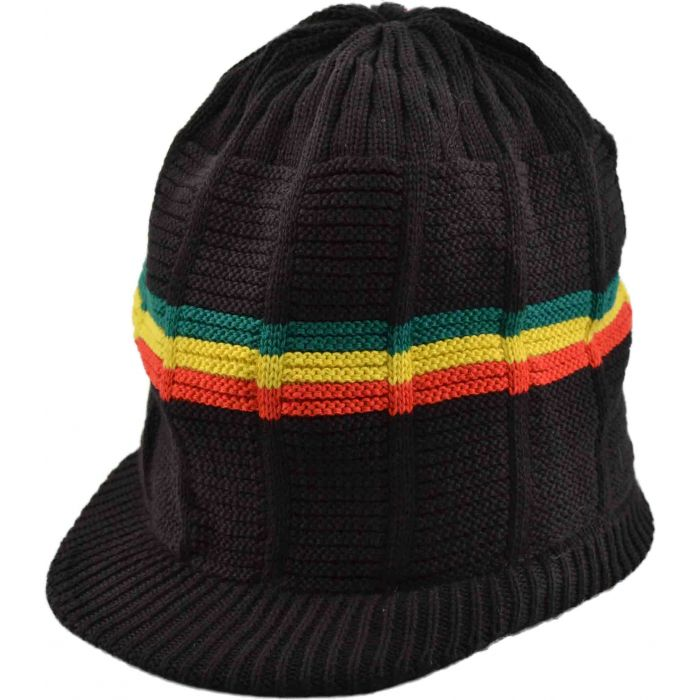 Pan African Large Knitted Peaked Rasta Hat