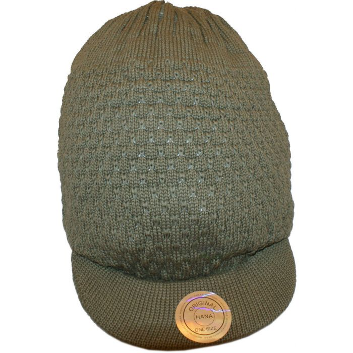 Large Knitted Peaked Rasta Hat - Olive Green