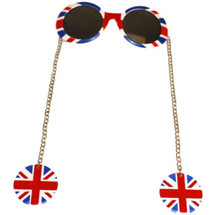 Union Jack Earring Chain Sunglasses