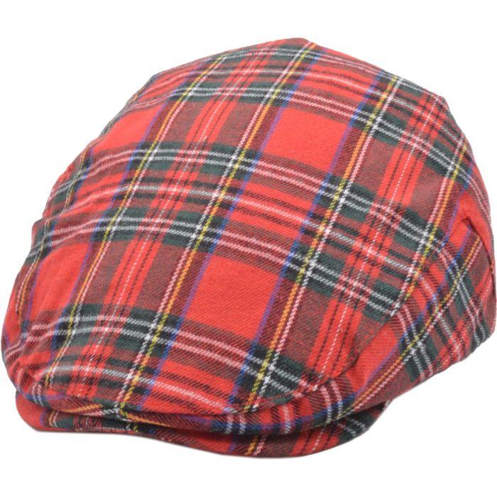 Scottish Tartan Flat Cap - Red