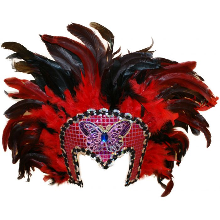 Red Feathered Showgirl Dancer Carnival Headdress