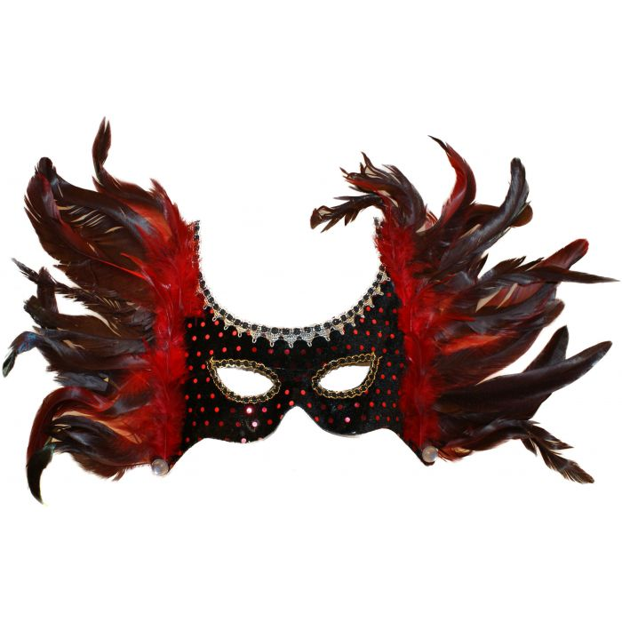 Feathered Masquerade Carnival Headdress Mask - Red