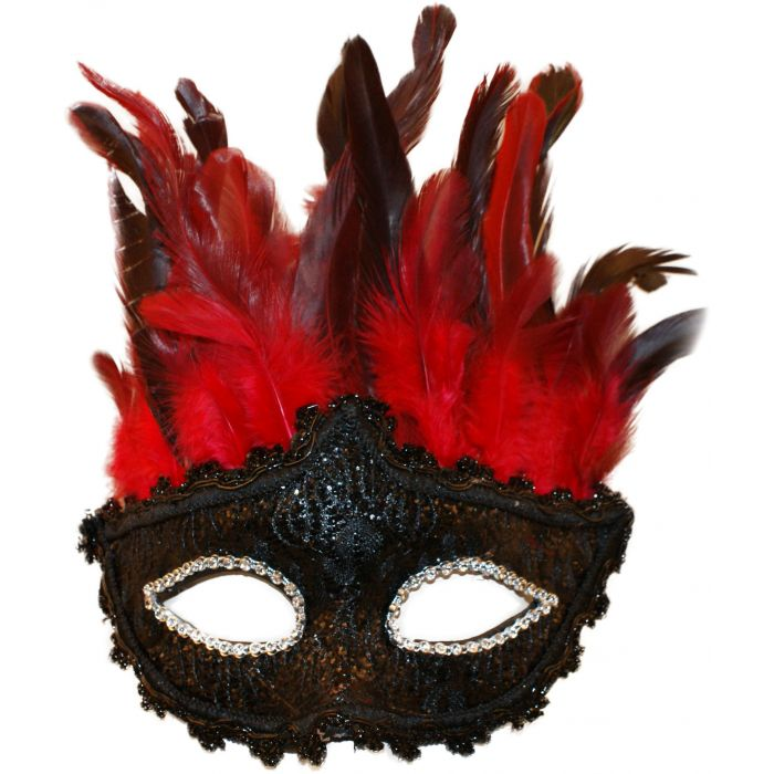 Red Feathered Masquerade Mask