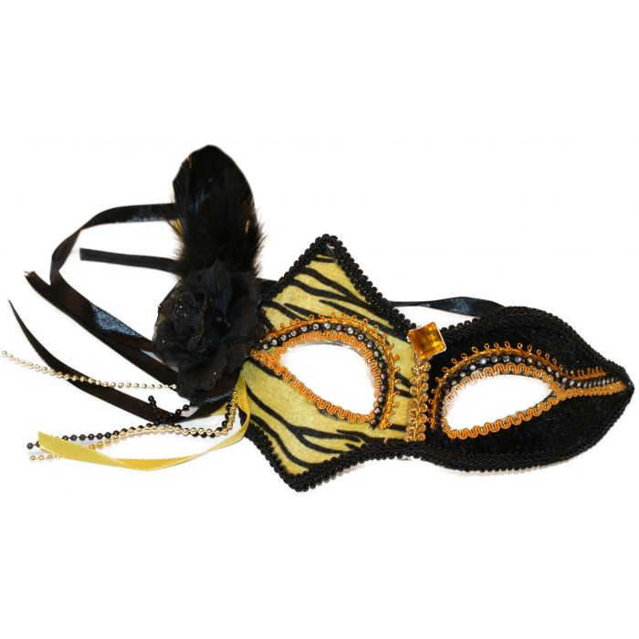 Feathered Cat Mask - Gold