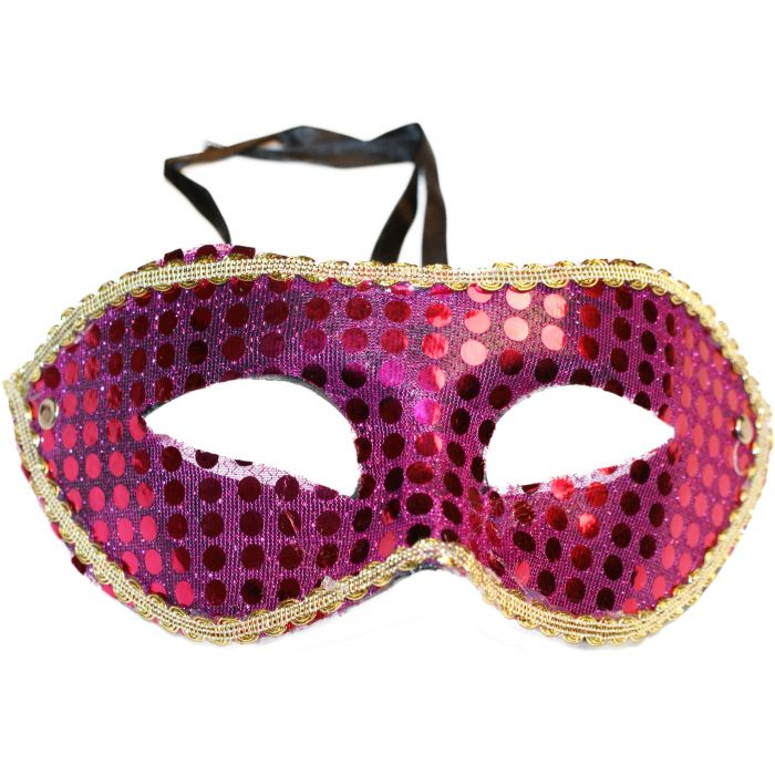 Sequin Venetian Masquerade Mask - Purple