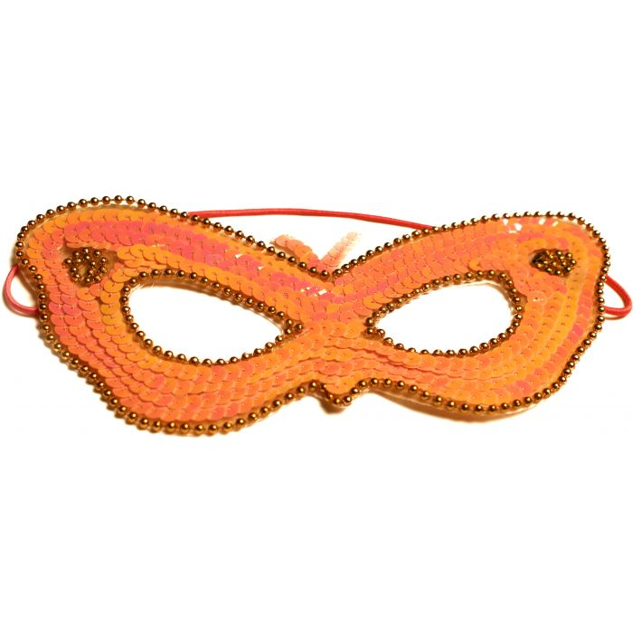 Orange Sequin Venetian Masquerade Mask