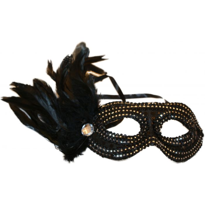 Black Feathered Venetian Masquerade Mask