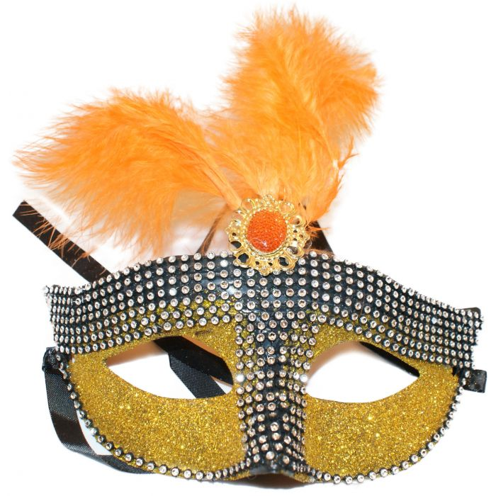 Feathered Venetian Masquerade Mask - Cultured Diamonds - Gold