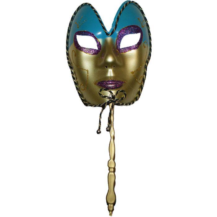Full Face Venetian Masquerade Mask on Stick - Blue