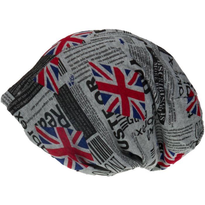 Union Jack Patterned Slouch Beanie Hat - Light Grey