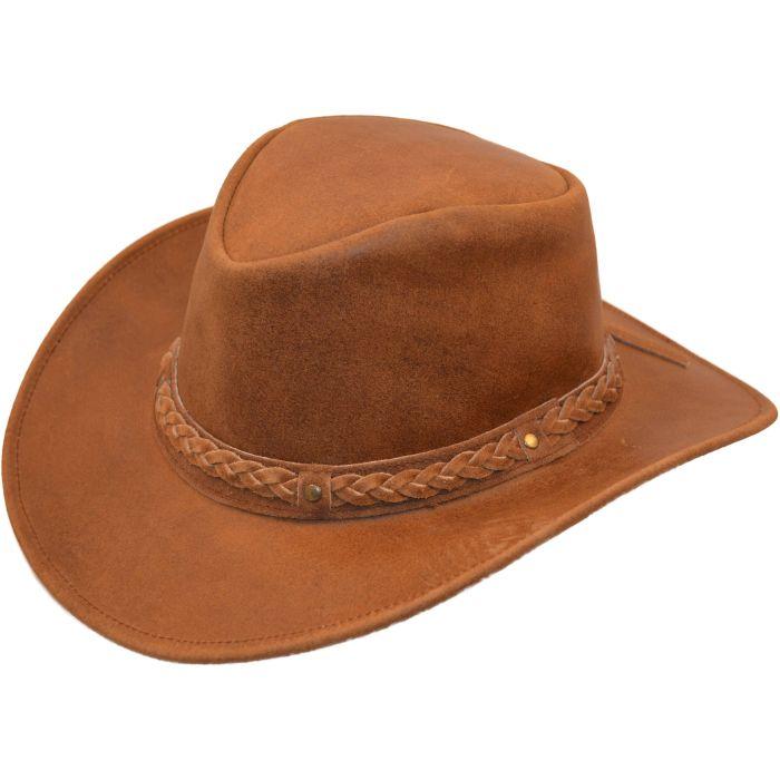 Genuine Suede Leather Cowboy Hat - Brown