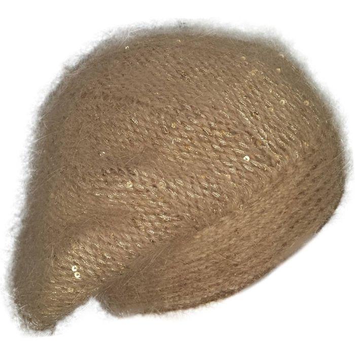 Womens Sequin Slouch Beanie - Beige