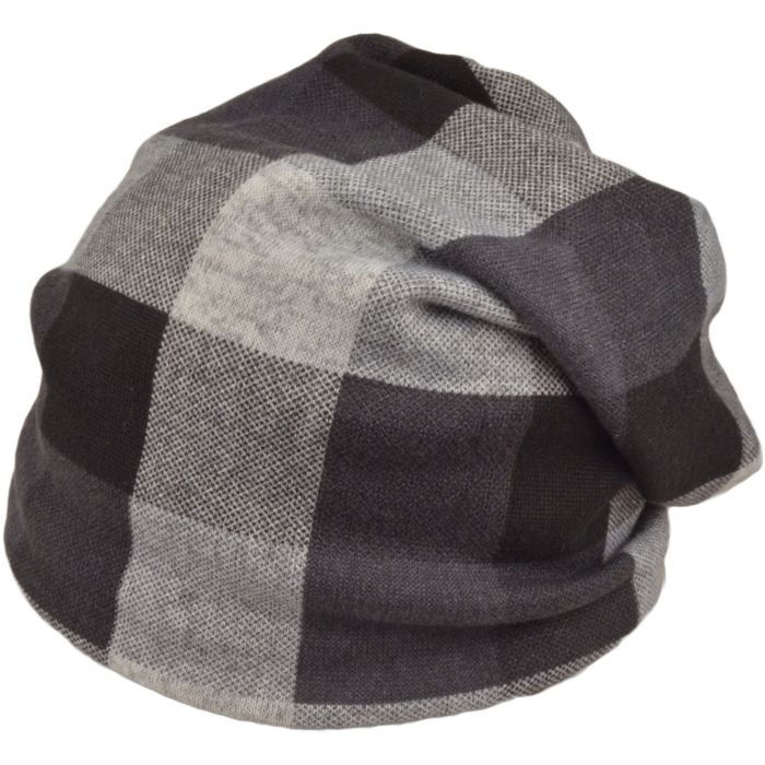 Checkered Slouch Beanie Hat - Black