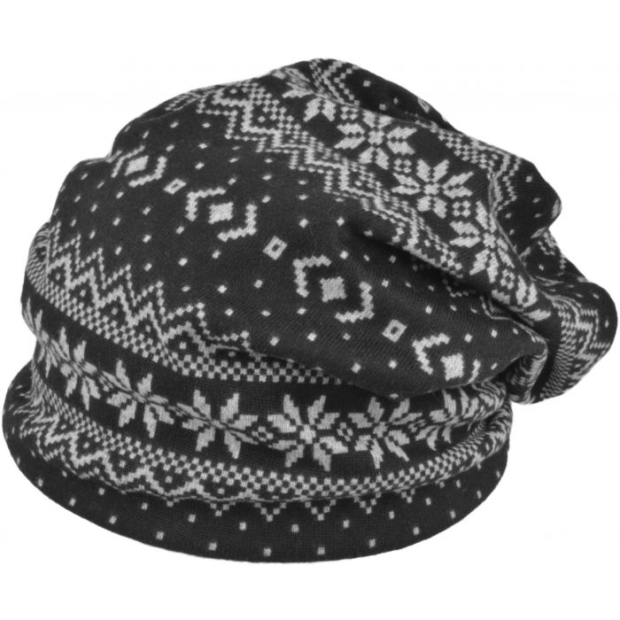 Thick Patterned Slouch Beanie Hat - Black