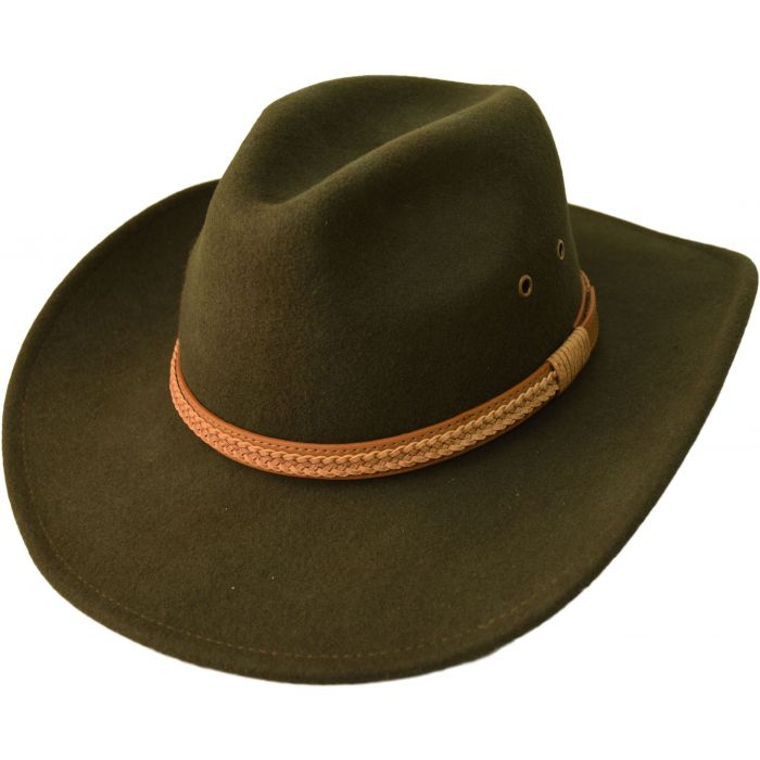 Wool Felt Cowboy Hat - Olive Green