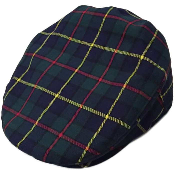 Navy Blue Scottish Tartan Flat Cap