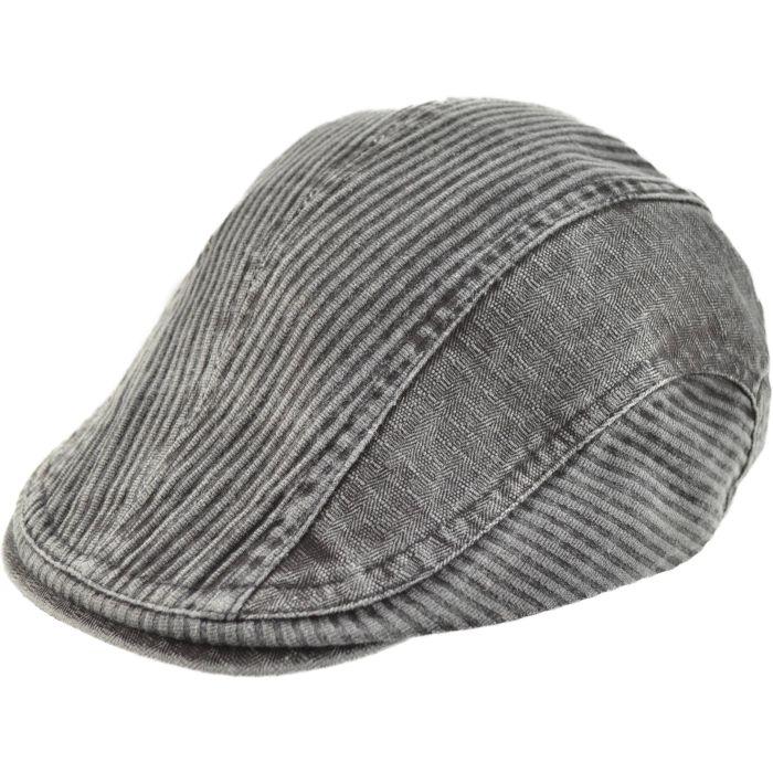 Corduroy Style Flat Cap - Grey