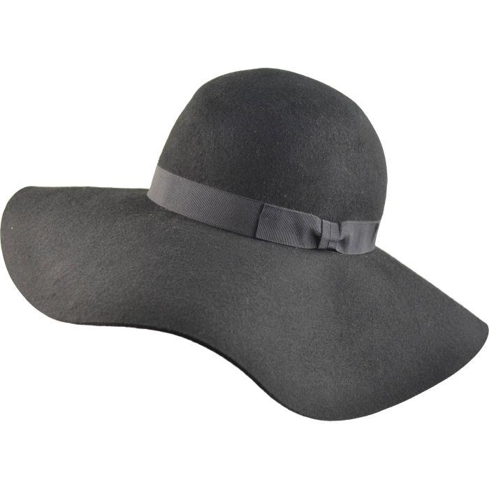 Womens Wide Brim Wool Cloche Hat