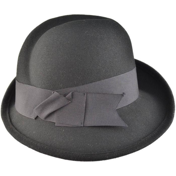 Womens Wool Felt Vintage Cloche Hat - Front