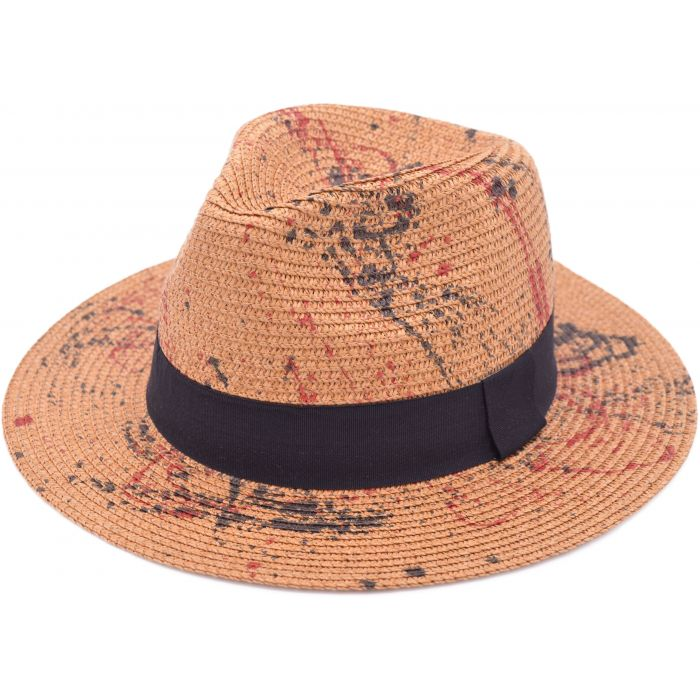 Unique Paint Splatter Panama Hat - Camel Brown