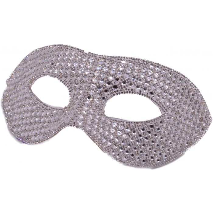 Silver Cultured Diamond Masquerade Mask