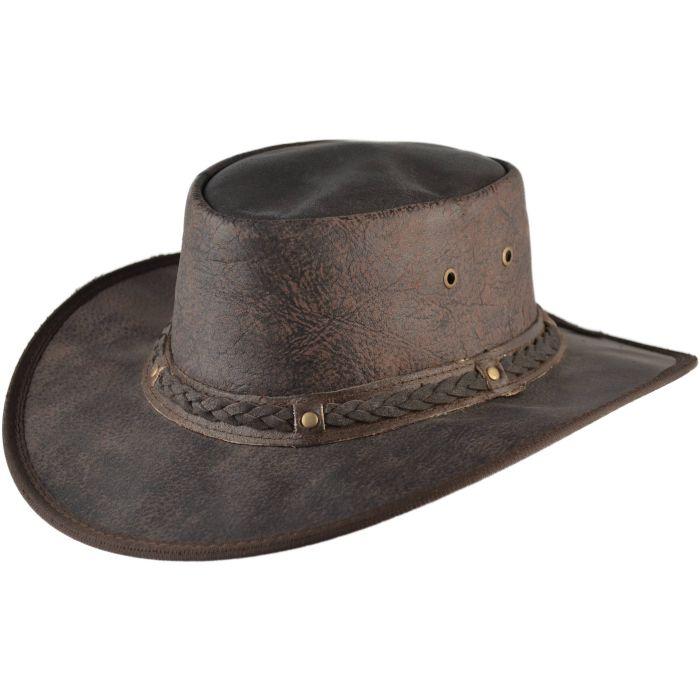 Genuine Leather Cowboy Hat - Black
