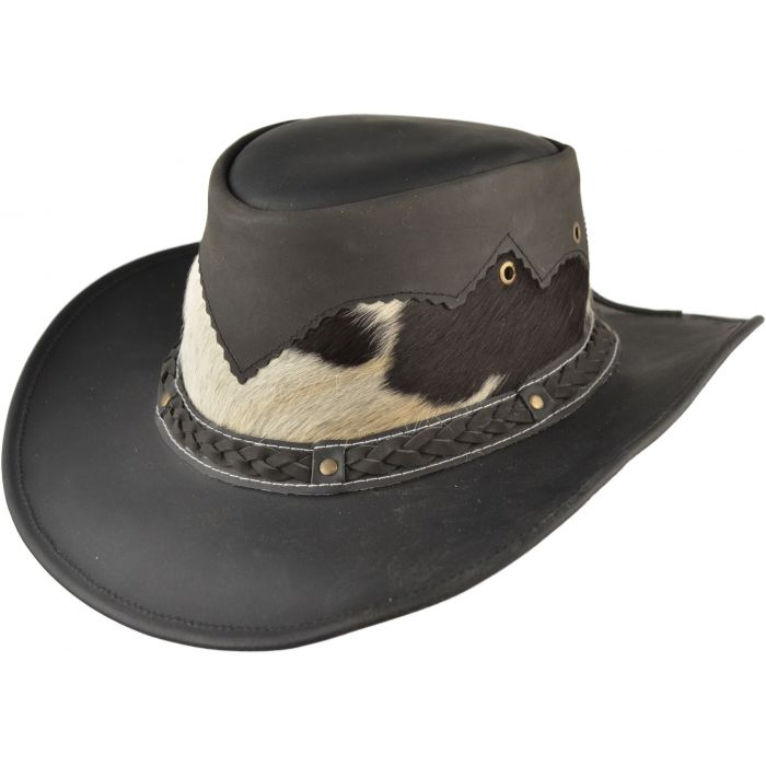 Genuine Leather Cowboy Hat - Black