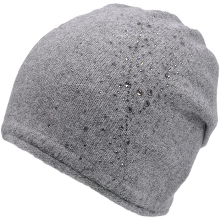 Knitted Beanie Hat With Cultured Diamonds - Grey