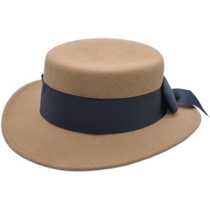 Wide Brim Wool Felt Cloche Hat - Camel