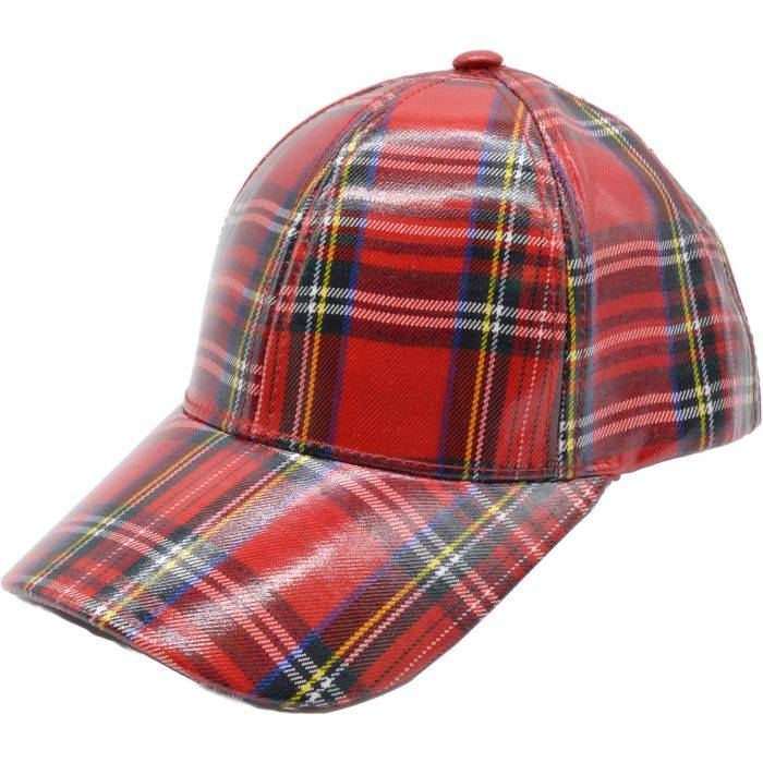 Scottish Tartan Baseball Cap - Red