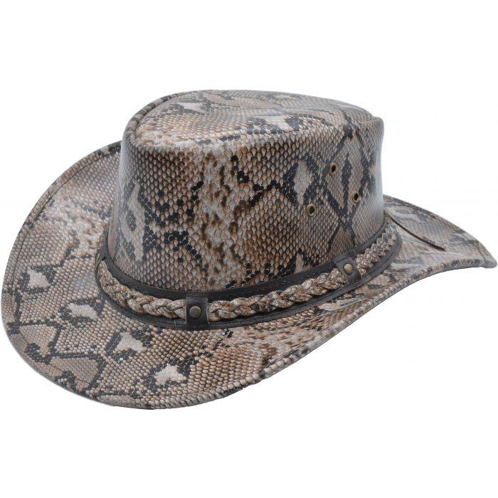 Snake Pattern Genuine Leather Cowboy Hat