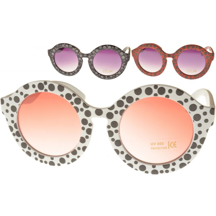 Womens Spotted Round Sunglasses