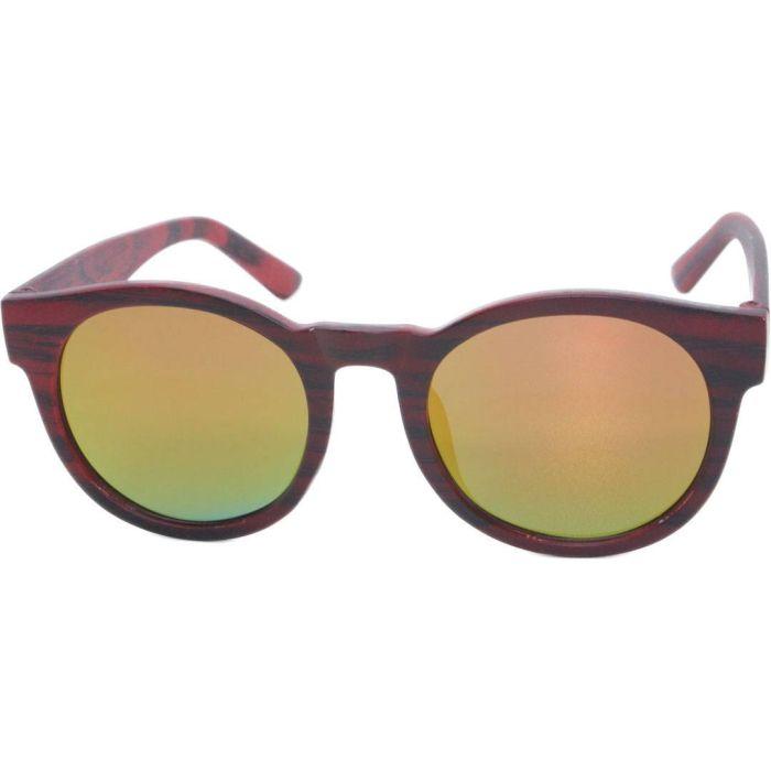 Matt Wood Print Round Sunglasses